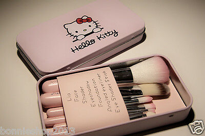 Hello Kitty 7 Pcs Set Professional Pink Cosmetic Makeup Brush Kit better quality