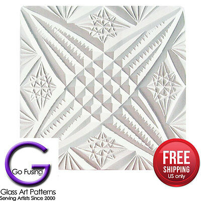 Texture Mold: Glass 4 Point Star Ridged for Fused Glass Fusing Supplies