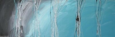 ABSTRACT CANVAS PAINTING turquoise grey. Modern wall art artwork