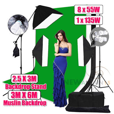 Studio Photo Softbox Lighting Soft Box Boom Light Kit Muslin Backdrops Stand Set