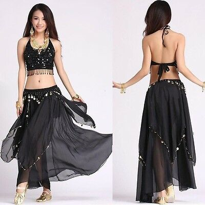 Belly Dance Costume (5 Flower Top, Skirt )Colors sets Carnival Gold Coins Dress