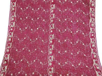 Indian Vintage Dupatta Long Scarf Embroidered Fabric Magenta Veil Stole Hijab