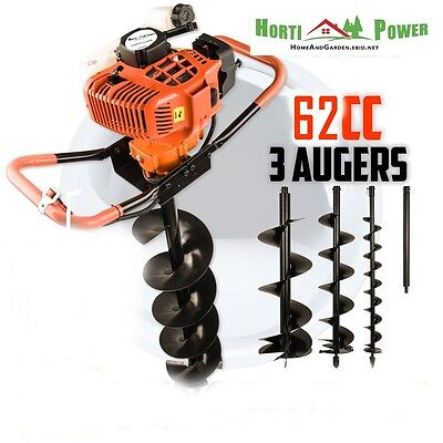 62cc Post Hole Digger Auger Petrol Drill Bit Fence Earth Borer by HORTI POWER