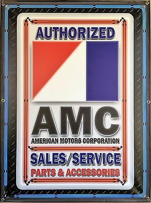 Amc American Motors Corp Dealer Style Neon Effect Printed Banner Sign Art 3 X 4