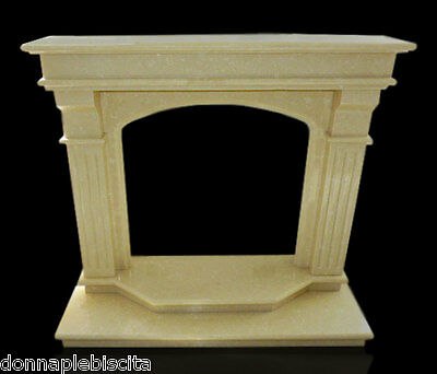Cornice Caminetto Camino in Marmo Giallo Classico Old Fireplace Marble Frame Top