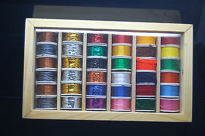 Fly Tying 36 Spools of Floss, Thread, Tinsel, Wire, Wool in a Wooden Box