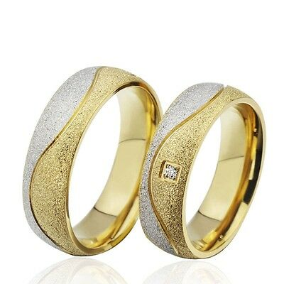 Couple women men sand blasted Gold plated stainless steel CZ wedding Love Ring