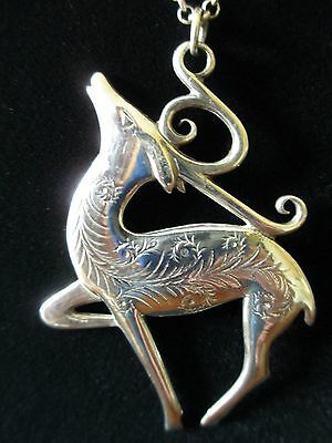Vintage Hand & Hammer Handmade Sterling Silver Deer Pendant Necklace With Chain