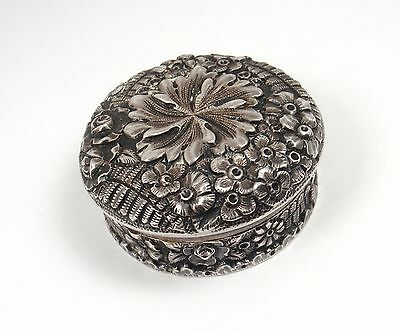 RARE Antique Tiffany &Co Makers E.Moore Sterling Silver Floral Repousse Pill Box