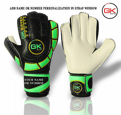 GK Saver Goalkeeper cool green Finger Save Football Goalie Flat Cut Gloves