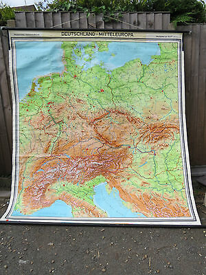 Vintage Pull Down Geographical School Wall  Map Of Germany And Middle Europe