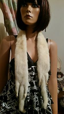 Genuine Vintage Ivory Mink Fur Stole Boa Scarf Coat Pelt French Antique Doll