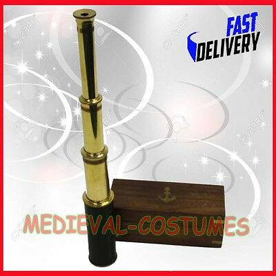 Science Purchase Handheld Brass Telescope With Wooden Box