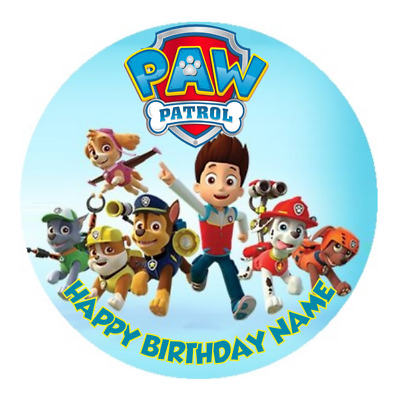 Paw Patrol Personalised Edible Kids Birthday Party Cake Decoration Topper Image