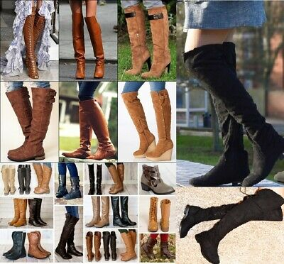 Ladies Womens Over Knee High Heel Stiletto Lace Up Zip Winter Fashion Boots Sale