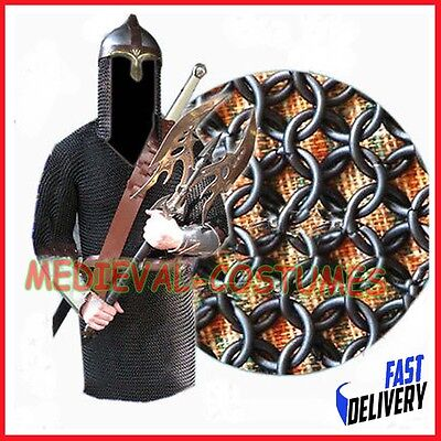 Butted Chainmail Shirt Black Medium Hauberk Butted Chainmail Armour Clothing