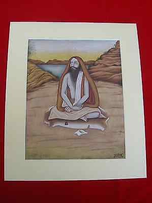 Vintage Indian Miniature Painting Of Holy Man Sadhu Deep Concertration