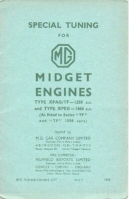 Mg Midget Series Tf 1250 Xpag Xpeg 1500 Engine Xpag Special Tuning  Issue1 1954