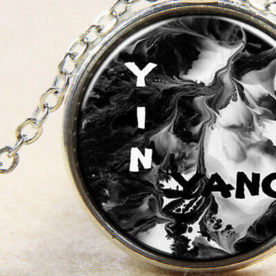Yin Yang Black and White Equal Balance Silver Necklace Ladies or Men's Jewellery
