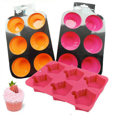 6 Cup Silicone Muffin Pan Tray Mould Home Bakeware Non Stick Bake CHEF AID