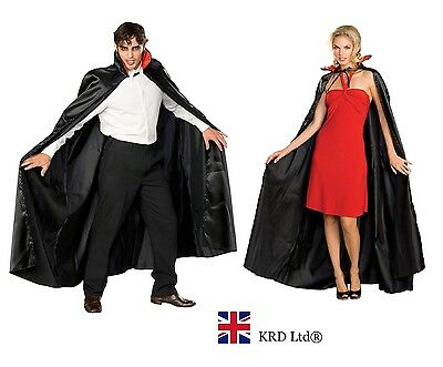Adult VAMPIRE DRACULA LONG CAPE Fancy Dress Cloak Halloween Party BLACK & RED