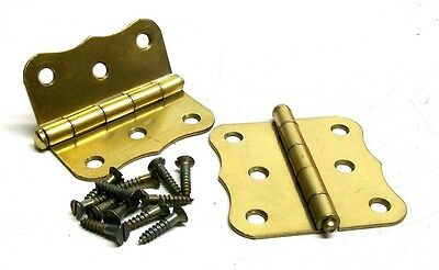 "Lot Of 2 (1 Pair) Vintage 3"" Steel Dull Brass Screen Door Hinge With Screws Dm"