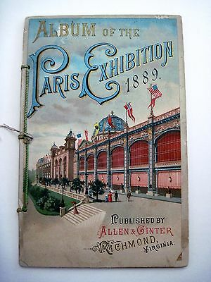 1889 Album of the Paris Exhibition w/ Stunning Colored Pages of Many Pavilions *