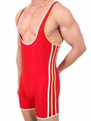 Pistol Pete Olympian Singlet Red/White/Yellow Ring Body Sleeveless Training Suit