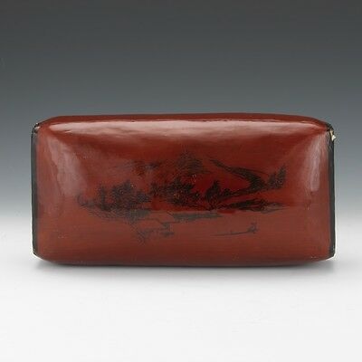 Japanese 19th Century Iron Red and Black Lacquer Wood Pillow or Headrest