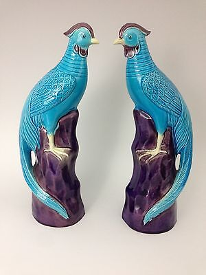 Pair of Chinese Export Porcelain Phoenix Birds with Turquoise Glaze - Circa 1900