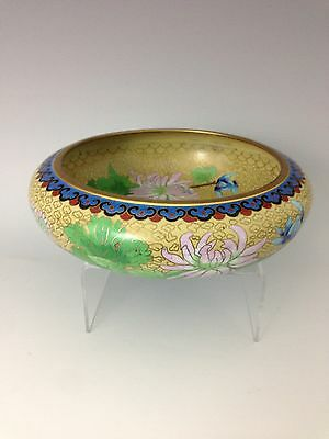 Antique Chinese Fine Copper Cloisonne Censer Bowl Flowers, Butterfly, Ruyi