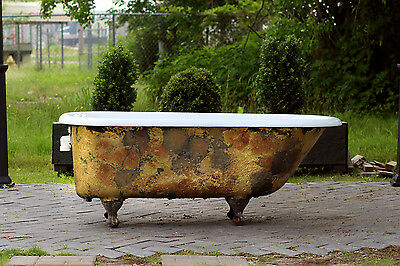 Antique 1911 Refinished Clawfoot Bathtub Brass Bronze Cast Iron Porcelain tub