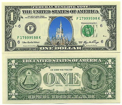 CHATEAU DISNEYLAND VRAI BILLET DOLLAR US! COLLECTION Disney Parc Castle Princess