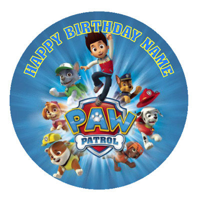 Paw Patrol Personalised Edible Kids Party Birthday Cake Decoration Topper Image