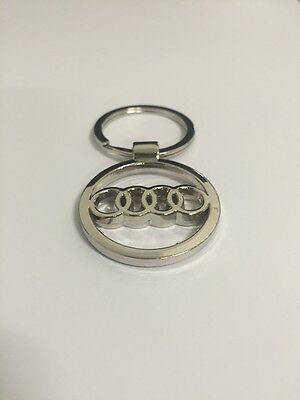 Audi Car Key Chain Keyring With Audi Logo Chrome Steel Platted Gift