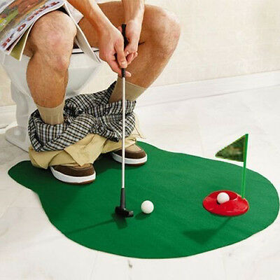 Hi-Quality Potty Putter Toilet Time Mini Golf Game Novelty Gag Gift Toy Mat Set