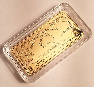 "5 Gram Awesome ""Map Of Australia"" Ingot Finished in 999 Fine 24 karat Gold"