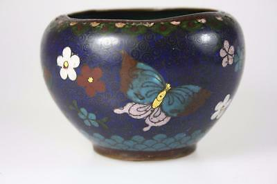 Antique Chinese Qing Cloisonne Bowl With Floral Butterfly Patterns