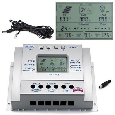 LCD 60A MPPT Solar Panel Battery Regulator Charge Controller + 16ft Cable AU GL