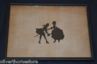 Vintage Cross Stitch / Needlepoint Silhouette Victorian Couple Framed