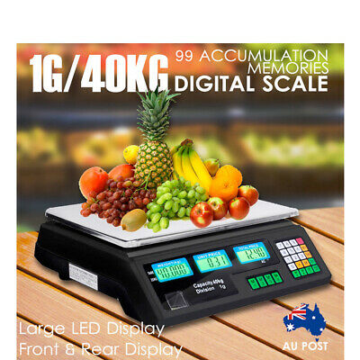 Kitchen Digital Scale 40KG Electronic Commercial Shop Weight Scales Food Black