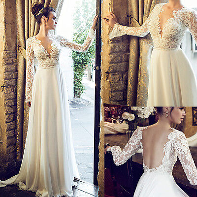 Vintage Bohemian Sexy Backless White/Ivory Wedding Dress Lace Bridal Gown Custom