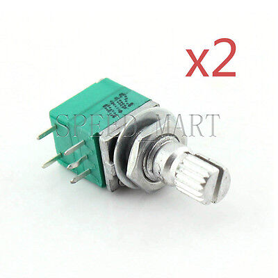 2x B1K Audio Amplifier Sealed Potentiometer 15mm Shaft 5 pins
