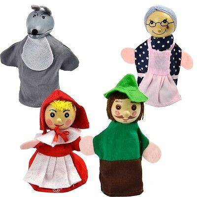 4 Piece RED RIDING HOOD FINGER PUPPETS with WOODEN HEADS ~ Tell the story in 3D