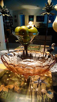 Indiana Glass large footed fruit bowl Harvest Grape clear pink in color