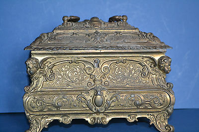 Antique 19th Century French Art Nouveau Gilt Metal Casket, Ornate Decor,c 1880