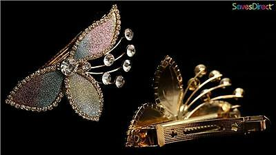 New Gold Tone Glitterly Flower Clear Crystal Barrette Hair Clip Spring Diamante