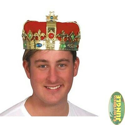 ROYAL MAJESTIC KING'S QUEEN GOLD PLATED FULL CROWN - mens fancy dress accessory