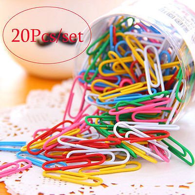 1 Set 20Pcs 28mm Colorful Paper Clips & Pins Vinyl Coated Office Stationery New