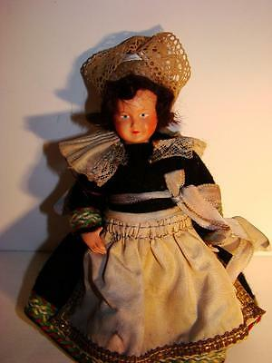 """Antique French Doll Size 5.5"""" Celluloid Tag Dollhouse House Size France In Dress"""